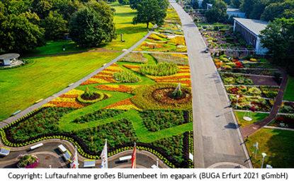 Luftaufnahme grosses Blumenbeet im egapark BUGA Erfurt 2021 gGmbH